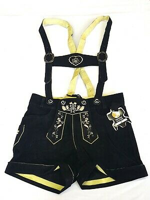 Ladies Leather Trousers with Straps Bayernhosen Costume Shorts Embroidery Black