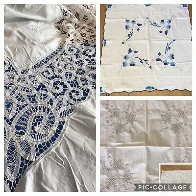 Vintage Embroidered Crocheted Applique Tablecloth Bundle X 3