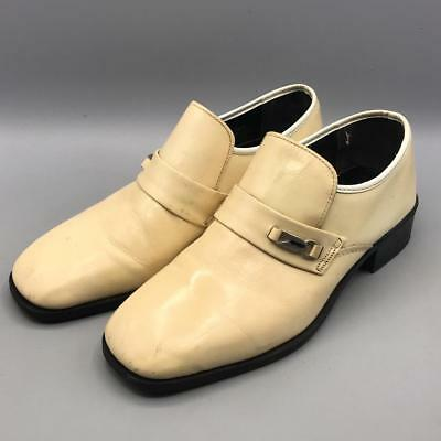 Vintage Sears Loafers Slip-On White Leather Mens Dress Shoes Size 8.5 D
