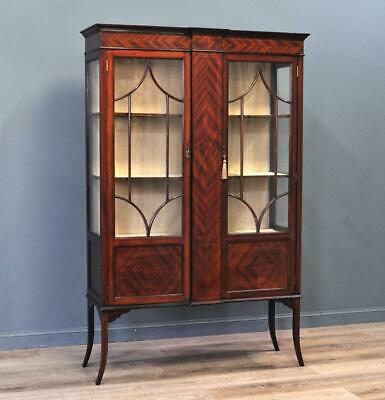 Attractive Antique Edwardian Inlaid Mahogany Display Cabinet, Newly Lined