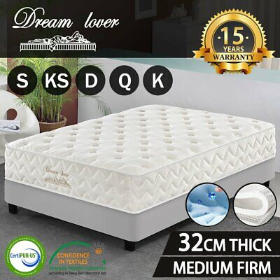 Queen King Single Double Bed Mattress Pocket Spring Firm  Cool GEL Memory Foam