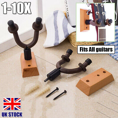 1-10X Electric Guitar Hanger Holder Stand Rack Wood Hook Wall Mount for All Size