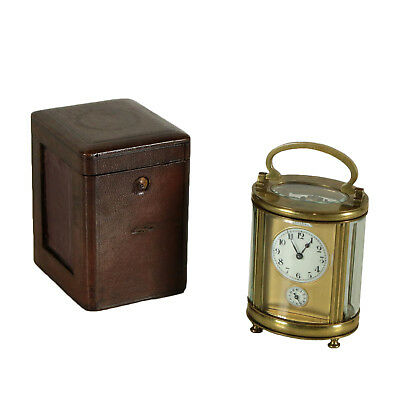 Travel Clock with Leather Case Crystal Brass Late 1800s