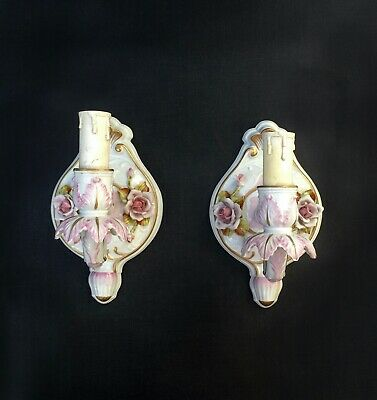 Pair antique Dresden Porcelain Sconces Hand painted decorated Gilded