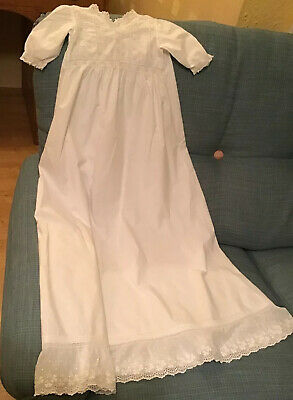 Antique Vintage Baby Long White Cotton Dress / Christening Gown