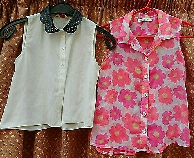 Girls Kylie &  M&C Kids Tops Age 9-10 Years, White and Pink Floral, Summer,