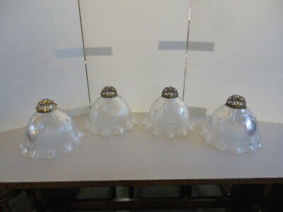 Set Of 4 Large Holophane Shades & Fittings