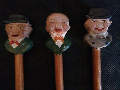 Vintage ANRI Small Hand Carved Wood Condiment Spoon - Set of 3