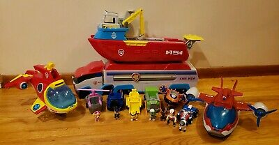 Paw Patrol Huge Lot Patroller Sub Boat Plane Figures and Vehicles