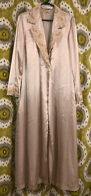 Vintage Victorias Secret Robe Satin Lace M/L Beige