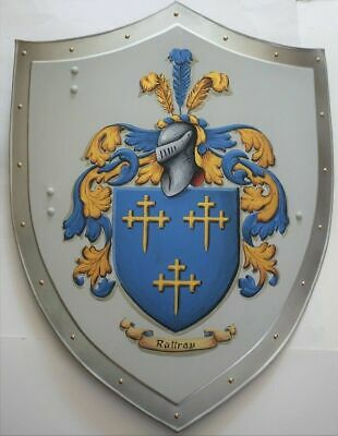 Hanging Medieval heater shield, coat of arms Knight Armor Templar shield S16