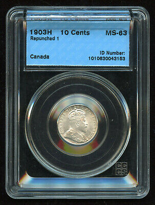 1903H (Repunched 1) Canada Ten Cents - CCCS MS-63 Really Nice Dime!