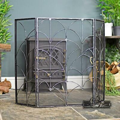 Antique Silver Gothic Style Three Fold Fire Guard Fire Screen Spark Guard