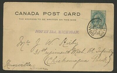1899 Canada One Cent Postal Card Queen Victoria stamped 'Not in 31st. Michigan.'
