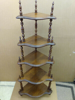 Antique Walnut 5 Tier Corner Shelf