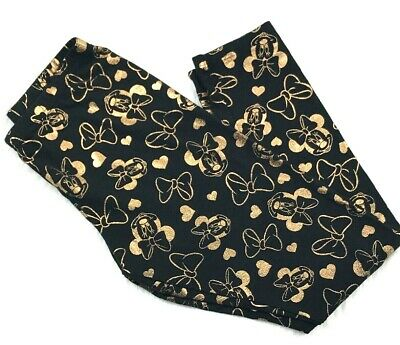 Disney Minnie Mouse Leggings Size Youth Large Black & Gold Minnies Bows & Hearts