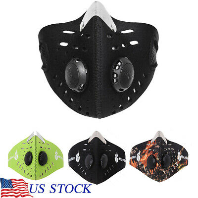 Dust Mask Air Purifying Face Mask Cover Carbon Filter Multi Layer Anti Smoke US