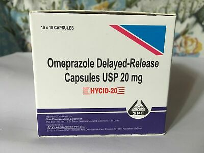Omeprazole 20 mg OTC 100 Capsules for Acid Re flux Heart Burn Reducer Formula