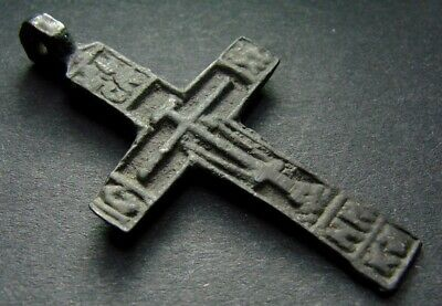 ANCIENT BIG BRONZE CROSS RARE. RELIGIOUS ARTIFACT 16 - 17 CENTURY. 45 mm (R.064)