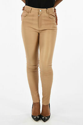 DROME women Trousers Brown Leather Straight Pants Size S Brown S (Standard Size)