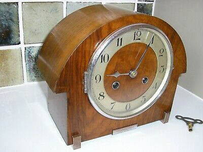 RESTORED 1930's 'ART-DECO' STRIKING MANTLE CLOCK