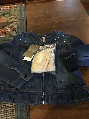 nwt Mayoral Girls Lined Jean Jacket With Detachable Fur Collar...size 6
