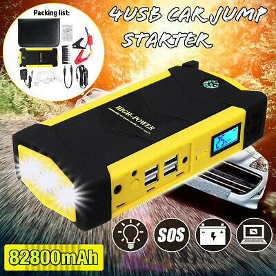82800mAh Car Jump Starter Booster LED 4USB Charger Battery Power Bank