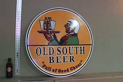 """Scarce 30"""" Old South Beer 2-Sided Porcelain Metal Sign Gas Oil Farm Tray"""