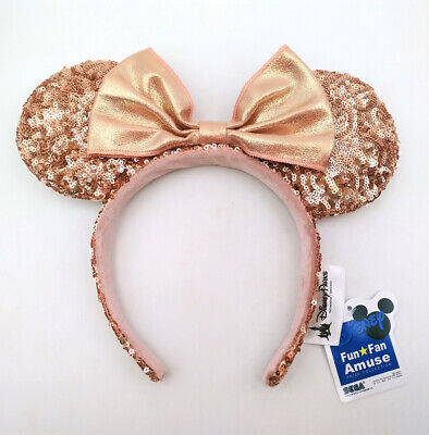 Disney Parks 2020 Mickey Mouse Minnie Ears Bow Champagne Gold Sequins Headband