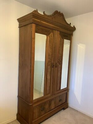 REDUCED ** Antique Wardrobe With Beveled Mirrors and Draw - MAKE ME AN OFFER!!