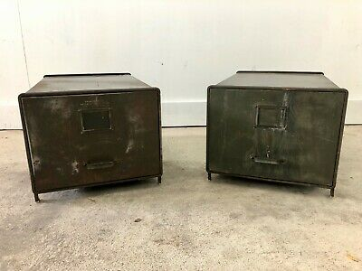Pair of Vintage Olive Green Metal File Cabinets / End Tables with Drawers