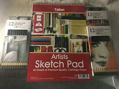 Medium Art Kit Draw Pad Charcoal Watercolour Pencils Draw Create Supplies Sketch