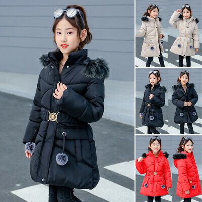 Kids Girls Warm Winter Jacket Faux Fur Hooded Coat Outerwear Parka Overcoat Tops