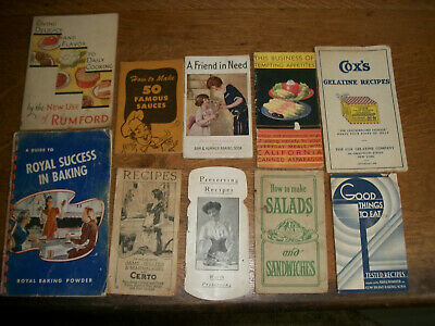 Vintage Lot Of 10 Advertising Recipe Cook Paper Booklets Books Pamphlets