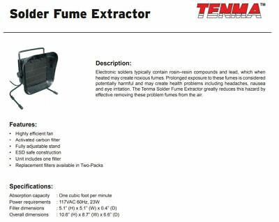 Used Tenma Solder Fume Extractor Model 21-7960, 117VAC 23W, ESD Safe, WORKS!