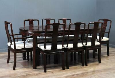 Attractive Large Oriental Carved Extending Dining Table & Eight Chairs, Carvers