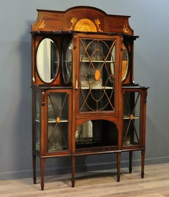 Attractive Large Antique Edwardian Inlaid Mahogany Display Cabinet
