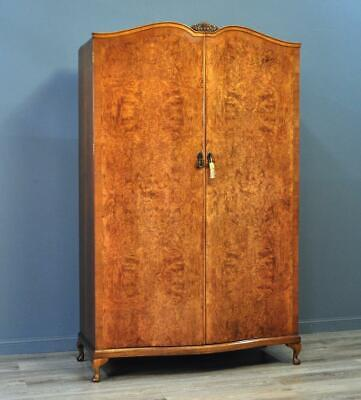Attractive Large Vintage Burr Walnut Fitted Double Wardrobe Armoire