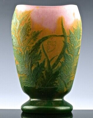 GORGEOUS c1910 DAUM NANCY MULTI COLOR FRENCH CAMEO CUT GLASS FLORAL SCENIC VASE