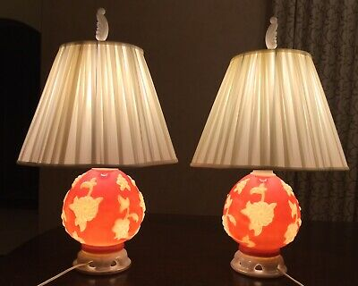 Perfect Pair Vintage Aladdin Alacite Milk Glass Table Lamps With Night Lights