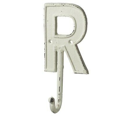 Monogram Letter R Single Wall Hook Painted Cast Iron 7.5 Inch