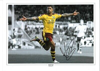 Andre Gray Burnley Authentic Hand Signed 16 x 12 inch football photo SS063
