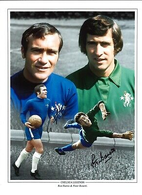 Ron Harris Peter Bonetti Chelsea Authentic Hand Signed Football Photo SS073