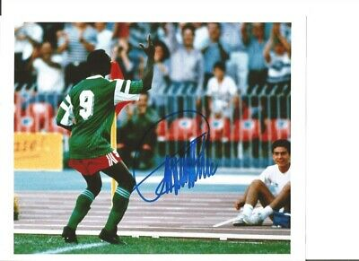 Roger Milla Cameroon Authentic Hand Signed 10 x 8 inch football photo SS0876b