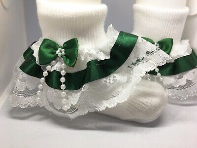 Handmade bottle green beads bow baby/girls/adult frilly socks various sizes