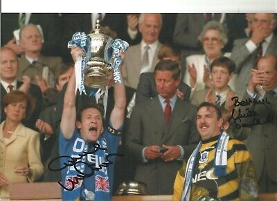 Dave Watson Neville Southall Everton Authentic Hand Signed football photo SS227