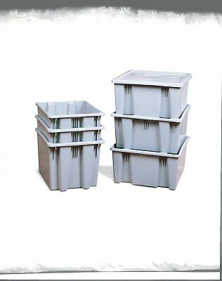 """Rubbermaid Commercial Products Stack and Nest Container, Gray, 10""""H x 23-1/2""""L x"""