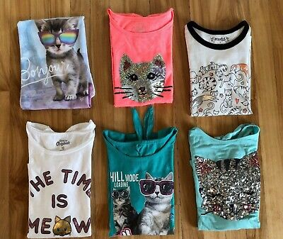 LOT of Youth Girls Size 10 Cat Kitty Themed Short Sleeve Shirts Tops 6pc
