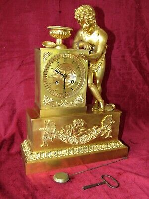 Very Impressive Quality French Gilt Bronze Clock. With Figure