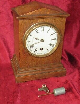 Nice Small Oak Cased German 8 Day Mantle Clock. Winterhalder & Hofmeier?